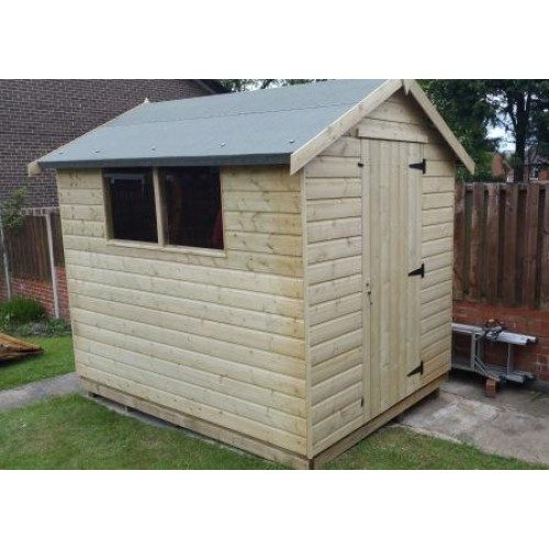 PRESSURE TREATED APEX GARDEN SHED STANDARD PLUS-2-WINDOWS-