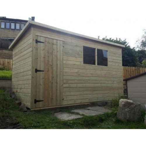 Pressure treated pent garden shed standard plus